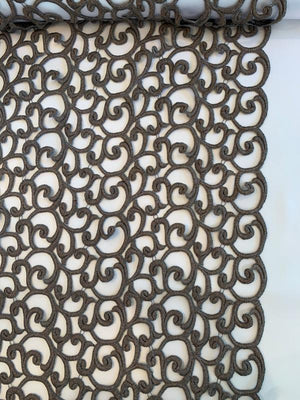 Intricate Open Guipure Lace - Grey-Bronze
