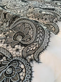 Paisley Floral Stiff Nylon Tulle with Embroidery and Light Cording - Black / White