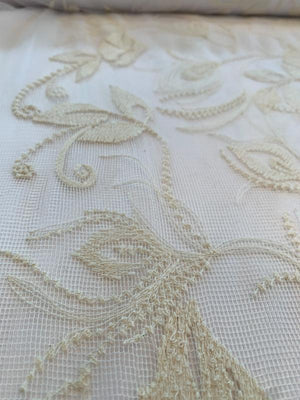 Delicate Floral Leaf Embroidered Mesh - Cream