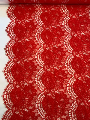 Floral Corded Double-Scalloped Raschel Lace - Red (Sold by the Strip)