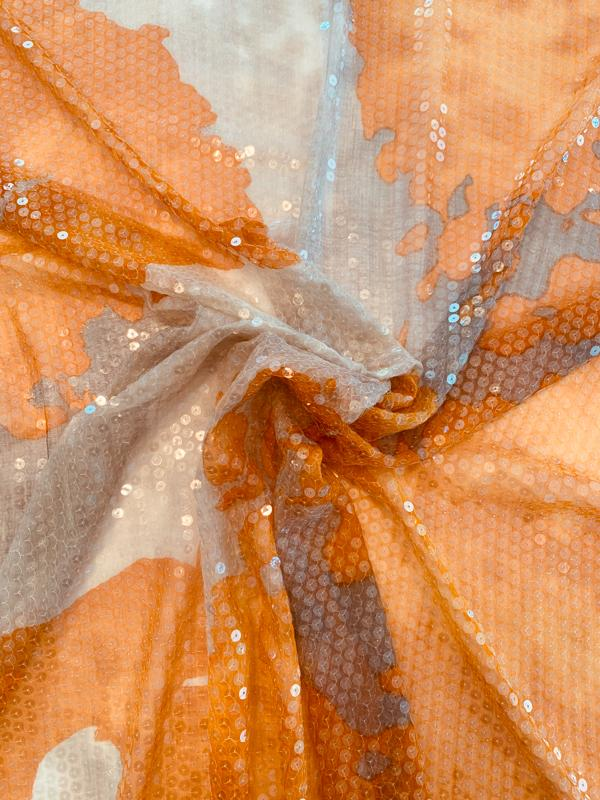 Clear Sequins on Abstract Painterly Printed Silk Chiffon - Orange / Light Brown