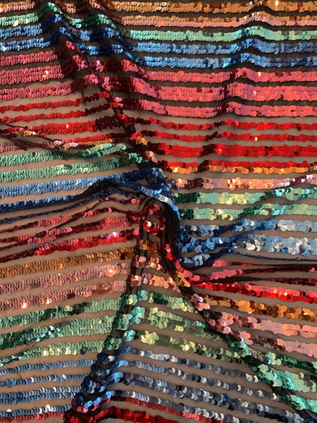Rainbow Horizontal Striped Sequins on Tulle - Multicolor