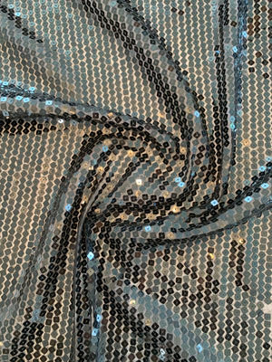 Square Sequins on Polyester Chiffon - Black