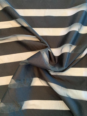 Shadow Striped Rayon Poly Cotton Organza - Black