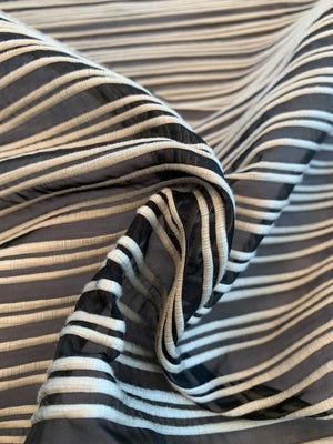 Poly Cotton Horizontal Textured Striped Organza - Black / Cream