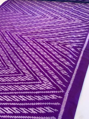 Ethnic Chevron Yarn-Dyed Woven Silk - Purple / Grey