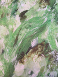 Italian Dreamy Marble Floral Printed Silk Gauze - Lime Green / Forest Green / White