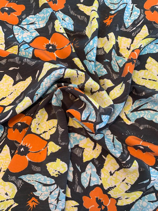 Floral Textured Wash-Finish Printed Silk Pique - Charcoal Grey / Orange / Blue / Yellow
