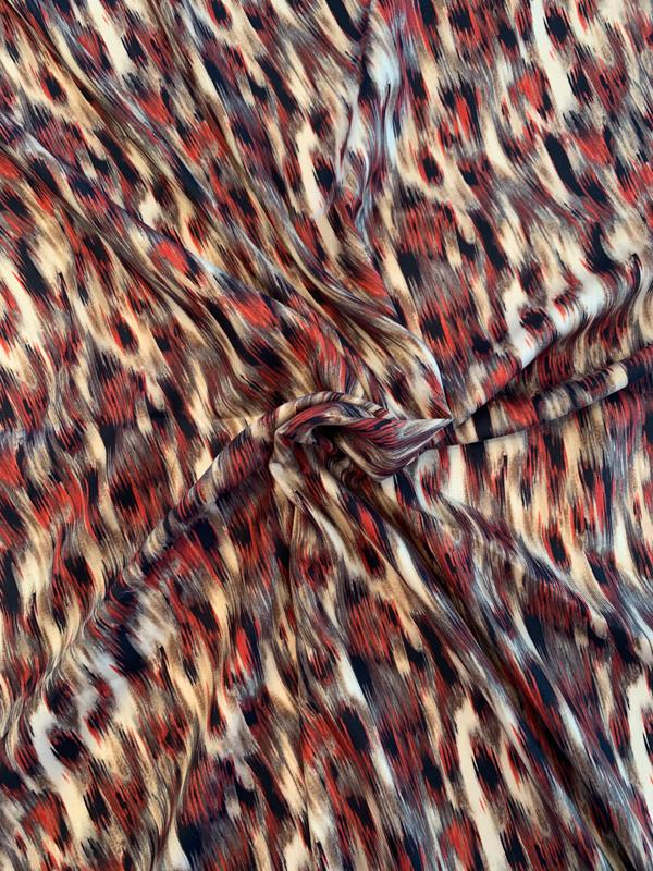 Hazy Animal Pattern Printed Silk Gaberdine - Burnt Orange / Tan / Brown