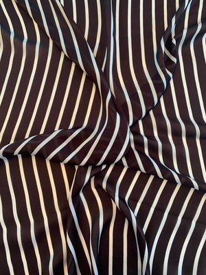 Italian Vertical Striped Printed Silk Georgette - Brown / White