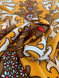 Regal Washed-Finish Printed  Silk Gaberdine - Tangerine / Saddle Brown / Ivory / Red
