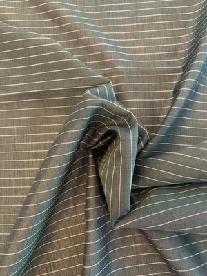 Horizontal Striped Yarn-Dyed Plain Weave Silk and Cotton - Spruce Green / Off-White