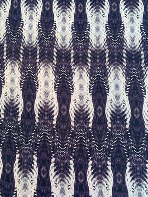 Abstract Printed Silk Georgette - Purple-Grey / Beige