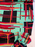 Art Deco Geometric Printed Fine Silk Twill - Light Seafoam / Black / Magenta / Orange