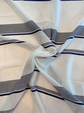 Italian Yarn-Dyed Horizontal Sateen Striped Silk Voile - Navy / Off-White