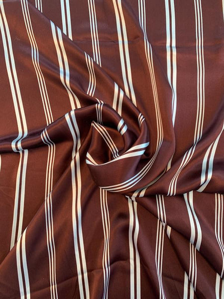 Horizontal Striped Silk Charmeuse - Wine / Sky Blue