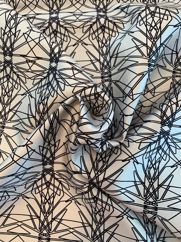 Art Deco Fused-Back Printed Silk and Wool - Black / White