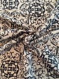 Regal Damask-Like Printed Silk and Cotton Faille - Grey / Black