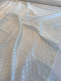 Italian Geometric Diamond Clipped Poly Cotton Voile - Off-White