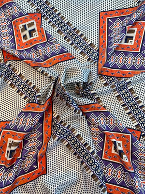 Designer-Look Multi Pattern Printed Fine Silk Twill - Orange / Purple / Ivory / Navy