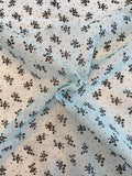 Ralph Lauren Delicate Floral Laminated Print Silk and Cotton Organdy - Bably Blue / Black