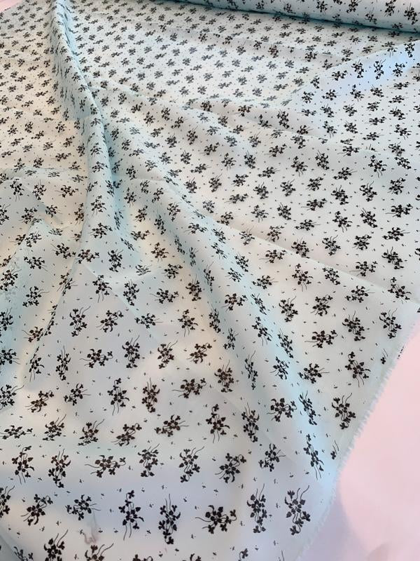 Ralph Lauren Delicate Floral Laminated Print Silk and Cotton Organdy - Baby Blue / Black