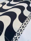Retro Waves with Double Border Pattern Printed 2-Ply Stretch Silk Crepe Panel - Black / White