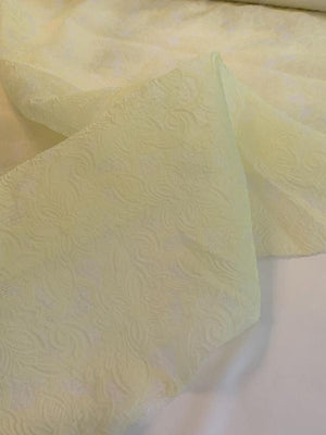Italian Floral Pattern Cloque Silk Organza - Soft Yellow