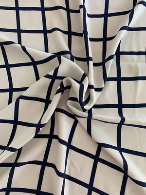 Windowpane Printed Heavy Printed Silk Crepe Georgette - Light Grey / Navy