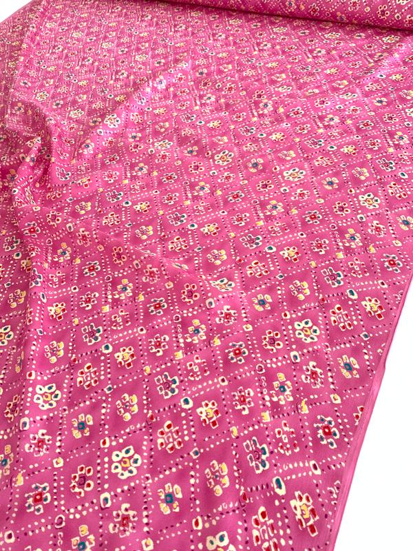 Playful Diamond Floral Printed Silk Gauze - Bubblegum Pink / Multi
