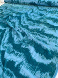 Italian Abstract Wavy Cut Velvet - Teal