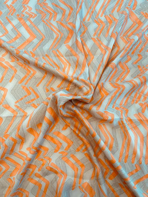 Abstract Broken Chevron Printed Baby Silk Gaberdine - Sand / Orange