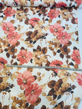 Romantic Floral Printed Crinkled Silk Chiffon - Ivory/ Coral / Brown
