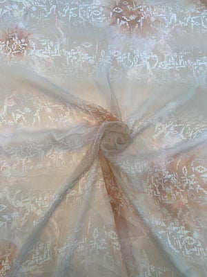 Italian Abstract Ikat Printed Silk Chiffon - Peach / Tan / Ivory