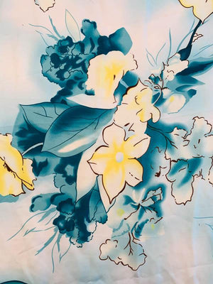 Watercolor Floral Printed Fine Silk Twill - Teal / White / Yellow