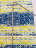 Morse Code Gone Digital Faille Silk and Cotton - Lime / Blue / Off-White