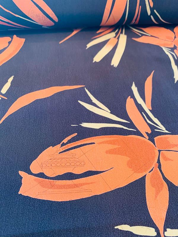 Wheat Stalks in Autumn Washed Finish Printed Silk Crepe de Chine - Black / Rust / Olive