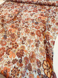 Floral Harvest Printed Crinkled Silk Chiffon - Orange / Red / Multicolor