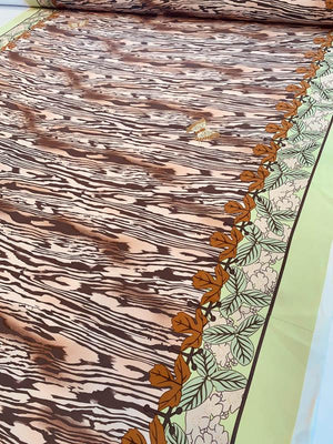The Tropical Jungle in Autumn Printed Silk Crepe de Chine - Brown / Beige / Lime