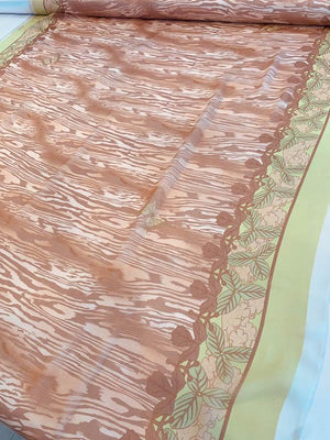 The Tropical Jungle in Autumn Printed Silk Chiffon - Brown / Beige / Lime