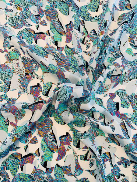 Abstract Printed Silk Georgette - Multicolor