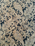 Paisley Printed Silk Shantung - Antique Gold / Olive / Black