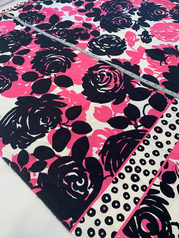 Floral and Circles Printed Stretch Silk Charmeuse Panel - Magenta / Black / White