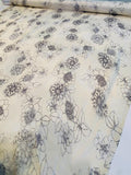 Floral Sketch Printed Crinkled Silk Chiffon - Cream / Grey