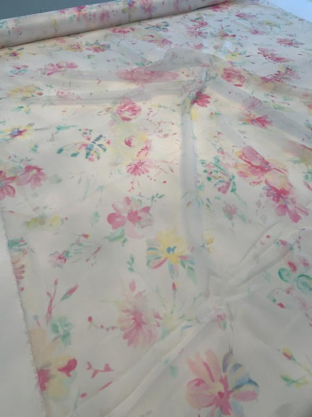 Italian Delicate Floral Printed Silk Chiffon - Pink / Green / Ivory