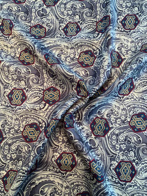 Italian Knightly Paisley Printed Fine Silk Twill - Grey / Cream / Maroon / Teal