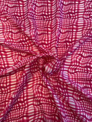 Italian Broken Gingham Printed Fine Silk Twill - Hot Pink / White