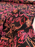 Abstract Printed Silk Crepe de Chine - Black / Pink / Tan / Dusty Rose-Purple