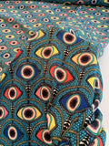 Hamsa Eye Printed Polyester Crepe de Chine - Turqouise / Blue / Multicolor