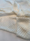 Italian Satin Finish Shadow Plaid Silk Chiffon - Ivory